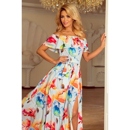 add9b73584 Sukienka Numoco Na Wesele Rozkloszowana Z Dekoltem Typu Hiszpanka