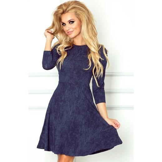 b0128170 Granatowa sukienka Numoco mini w miejskim stylu rozkloszowana