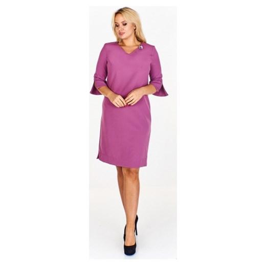 8e66f2bdb7 Sukienka różowa Wesley dla puszystych na co dzień midi z długimi ...