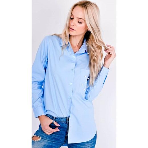 b8f900722b30 Niebieska koszula damska Zoio bawełniana z długimi rękawami w Domodi