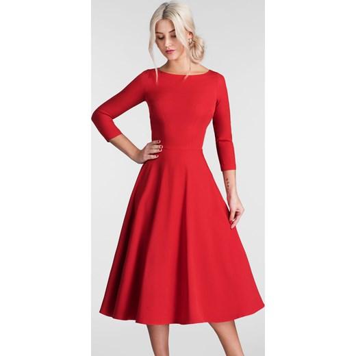 53289e93d3c897 Sukienka Livia Clue bez wzorów midi czerwona w Domodi