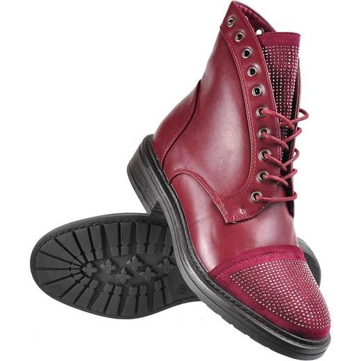 1b1a17888e67b ... Bordowe botki trapery z ćwiekami /E4-1 2432 S391/ Kayla Shoes 40  pantofelek24 ...