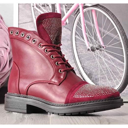 9a7c59ffd8be5 ... Bordowe botki trapery z ćwiekami /E4-1 2432 S391/ Kayla Shoes 39  pantofelek24 ...
