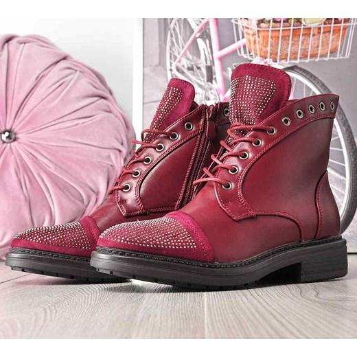 d86f06de86509 ... Bordowe botki trapery z ćwiekami /E4-1 2432 S391/ Kayla Shoes 41  pantofelek24 ...