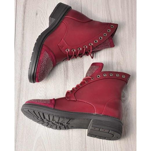 624374f474fec ... botki trapery z ćwiekami /E4-1 2432 S391/ Kayla Shoes 40 pantofelek24; Workery  damskie Kayla Shoes jesienne gładkie sznurowane ze skóry ekologicznej ...