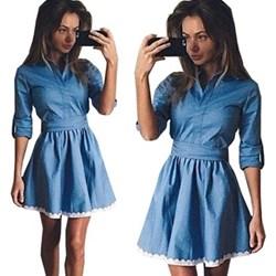 0ed8297972 Niebieskie sukienki kołnierzyk