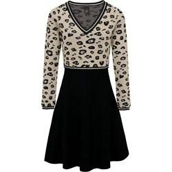 6efd937ea1 Heine sukienka w zwierzęce wzory wielokolorowa mini młodzieżowa z długim  rękawem