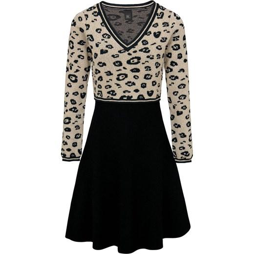 394617e26bfd8c Heine sukienka w zwierzęce wzory wielokolorowa mini młodzieżowa z długim  rękawem