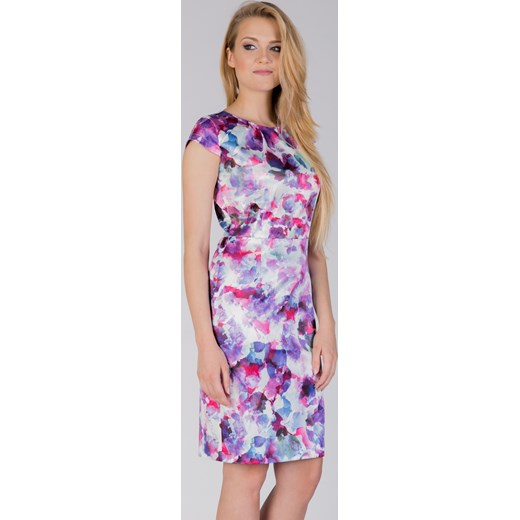 87af4e0bbd Sukienka Quiosque midi prosta z krótkim rękawem z okrągłym dekoltem na  spacer  Sukienka wielokolorowa ...