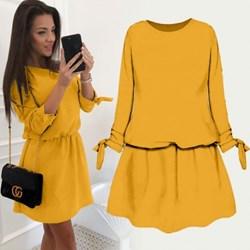 2b485d7bb9 Sukienka Pakuten żółta na spacer mini z okrągłym dekoltem z długim rękawem  z dresu trapezowa