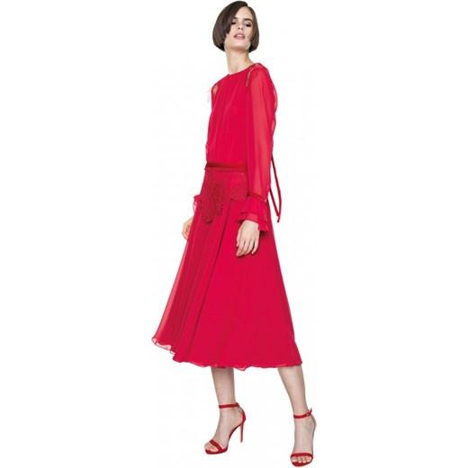 947e058990 ... Sukienka Aneta Kręglicka X L af z okrągłym dekoltem na wesele z szyfonu  midi z ...