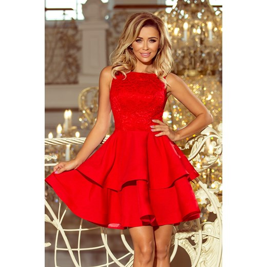 cffefade23 Saf sukienka mini elegancka bez rękawów czerwona koronkowa w Domodi