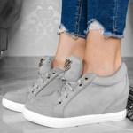 8e04fbe324b4 Krótkie Sneakersy - Szare Trampki na Koturnie - zdjęcie produktu
