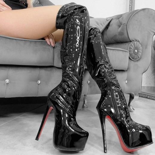 6f086ea941e12 Kozaki damskie czarne Wilady skórzane bez wzorów na platformie za kolano ...