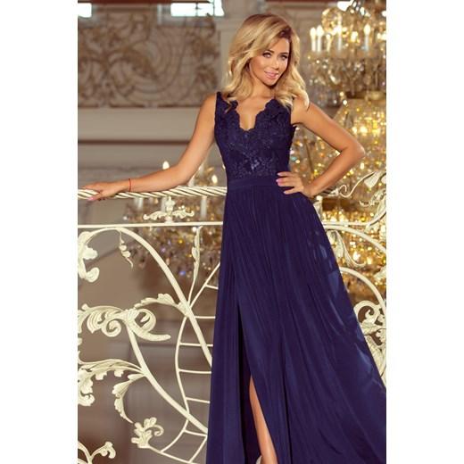 824ea70509 Sukienka Saf bez rękawów z haftami maxi niebieska elegancka w Domodi