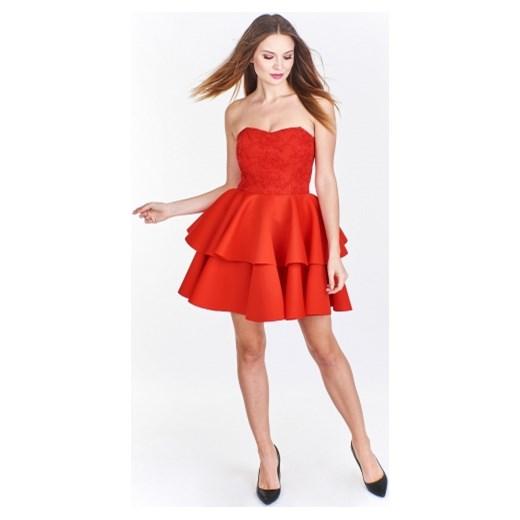 02ea7de32f Sukienka pomarańczowy Tęcza2 gorsetowa na sylwestra  Sukienka Tęcza2 z  dekoltem halter bez rękawów gorsetowa mini ...