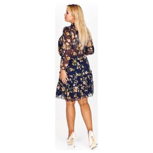 6e4a1987c3 ... Sukienka Stella Vera z długim rękawem w kwiaty casualowa dla puszystych  ...