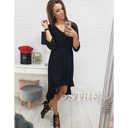 e24dc32657 Sukienka Dstreet granatowa z długimi rękawami z dekoltem v midi
