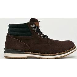 9fdfa587528ce Brązowe buty zimowe męskie Tommy Hilfiger casualowe sznurowane