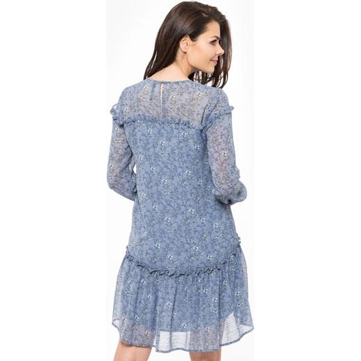 3b04096609 ... Sukienka Pepe Jeans wiosenna z okrągłym dekoltem z długim rękawem w  kwiaty na spacer ...