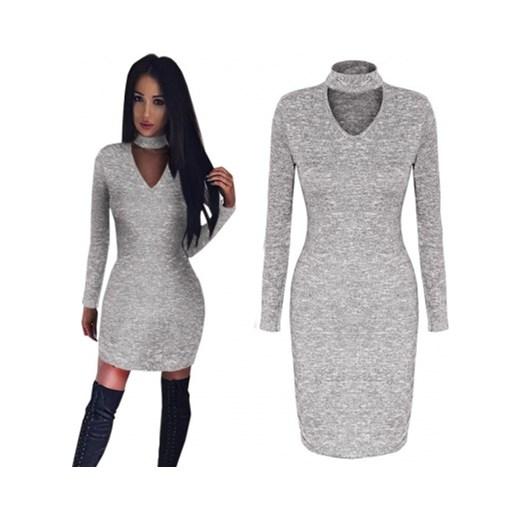 9a5830df3e Pakuten sukienka midi z dekoltem choker na zimę z długim rękawem w ...