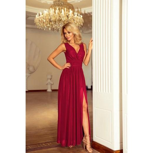 210e04ac1a10 Marion MAXI szyfonowa sukienka z rozcięciem - ŚLIWKA Numoco XL merg.pl ...