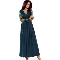 0f7523f94b Sukienka Numoco maxi z dekoltem v z długim rękawem rozkloszowana