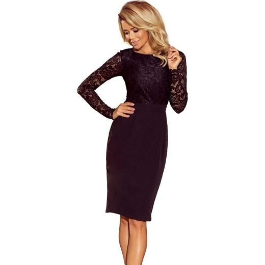 6191d904c2 Sukienka Numoco z koronką midi z długim rękawem elegancka na sylwestra