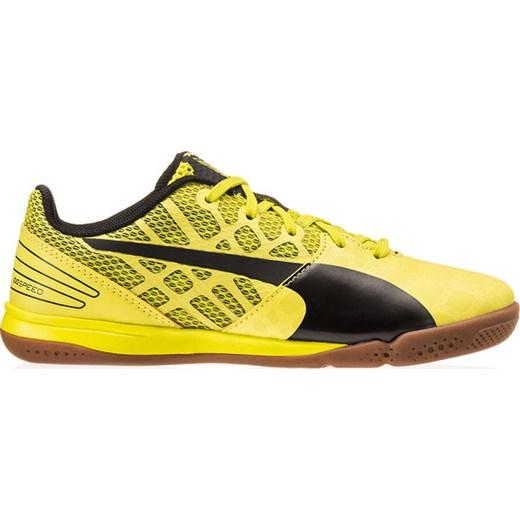 Buty piłkarskie halowe evoSPEED Sala 3.4 Junior Puma (żółto czarne) SPORT SHOP.pl