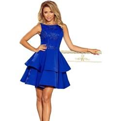 8a847103c5 Sukienka niebieska Numoco z okrągłym dekoltem na wesele rozkloszowana