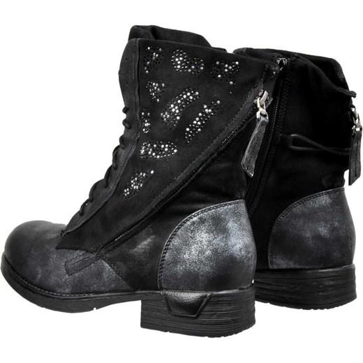 97d947dd9edcc ... Workery damskie Kayla Shoes sznurowane na płaskiej podeszwie ze skóry  ekologicznej z aplikacją ...