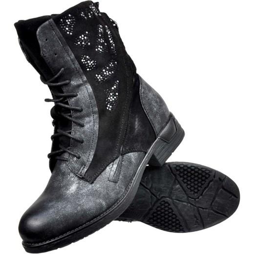 162f7a71c3fca ... Workery damskie czarne Kayla Shoes z aplikacją ze skóry ekologicznej na  płaskiej podeszwie casual sznurowane ...