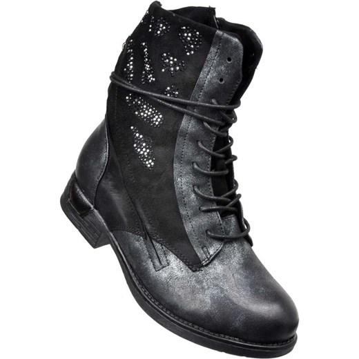 265dcb33db1de ... Workery damskie Kayla Shoes sznurowane z aplikacją ze skóry ekologicznej  casual