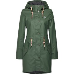 9f8c850f1559a Płaszcz damski Schmuddelwedda zielony bez wzorów casual