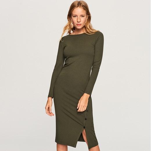 d80525fa9d ... Sukienka Reserved na co dzień zielona bez wzorów dopasowana z dzianiny