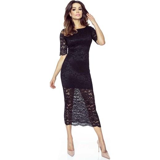 W superbly Czarna Ołówkowa Sukienka Midi z Koronki Molly.pl w Domodi OC04