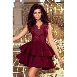 f1354e7a93 Numoco sukienka bez rękawów czerwona mini na sylwestra rozkloszowana  koronkowa