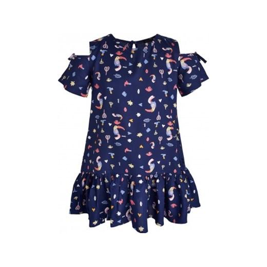 072eb4df1a0021 Sukienka z krótkim rękawem dla dziewczynki 9-13 lat Endo granatowy endo.pl
