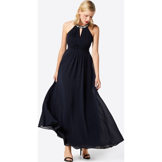 a467bcc7d3bb ... karnawał balowe  Sukienka Vm Vera Mont balowe maxi gładka z dekoltem  halter granatowa z szyfonu ...