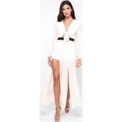 1bc07a91 Sukienka Tfnc biała asymetryczna z długim rękawem maxi
