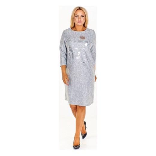 a6a345ee81 Sukienka Jarex Collection dzienna dla puszystych z długim rękawem midi