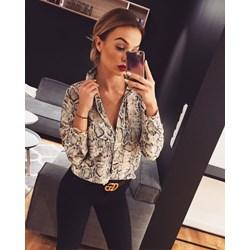 9c0174ee501fcb Koszula damska z poliestru z długim rękawem w zwierzęce wzory czarna  elegancka