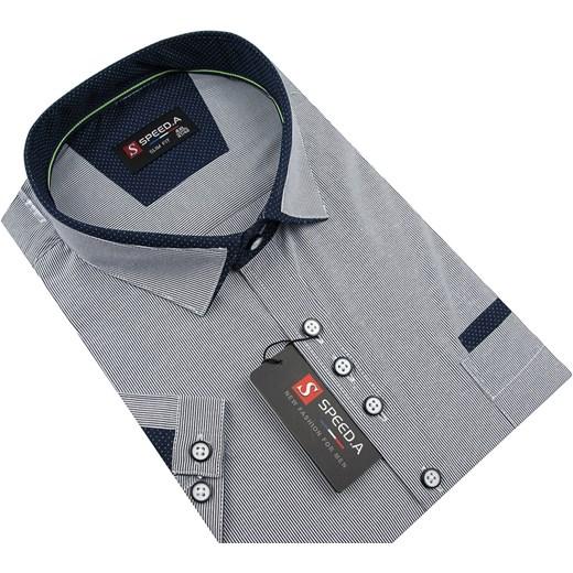 174fa57e483d5a A z krótkim rękawem z tkaniny; Koszula męska Speed.A z klasycznym  kołnierzykiem z krótkim rękawem z tkaniny ...
