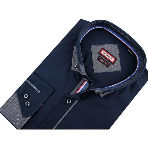 34ad8c88a67370 Koszula męska niebieska Speed.A z długimi rękawami z tkaniny w Domodi
