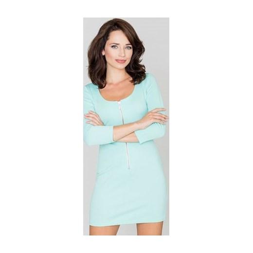 d6a65809a0 Sukienka Katrus miętowa mini dzienna z długimi rękawami w Domodi