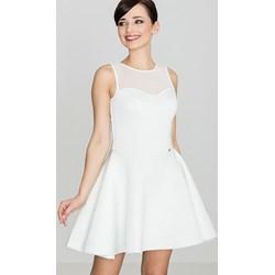 e4654b79f9 Sukienka Lenitif biała z okrągłym dekoltem rozkloszowana