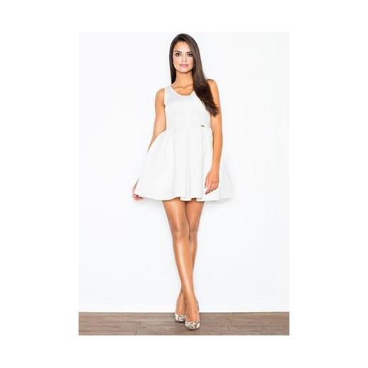 e384ec2966 Figl sukienka biała na urodziny mini bez rękawów rozkloszowana elegancka