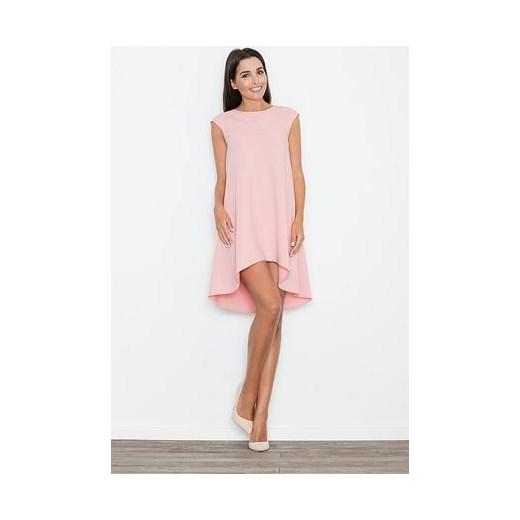 353f2b6322 Sukienka Figl asymetryczna na urodziny elegancka z krótkim rękawem bez  wzorów