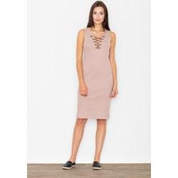 66a9702db6 Sukienka Figl bez wzorów elegancka midi na wieczór bez rękawów z dekoltem v