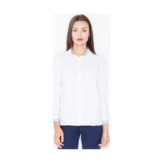 4d4c993418 Biała koszula damska Figl z długim rękawem z kołnierzykiem elegancka w paski